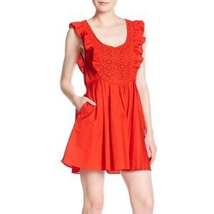 Free People Red Ruffle Dress NWT XS